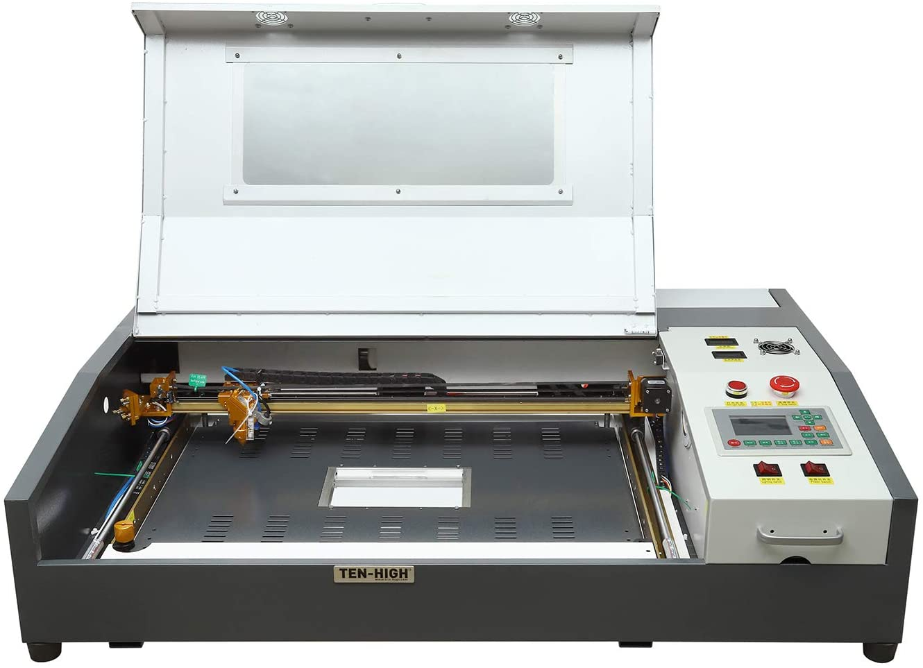 TEN-HIGH Laser Engraving Cutting Machine 60W Laser Cutter 4060 400x600mm 15.7x23.6 inches with Small Desktop, Offline Version