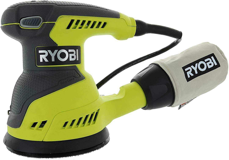 Ryobi RS290G 2.6 Amp 12,500 OPM Single Speed 5 Inch Hook and Loop Corded Random Orbit Sander w 3 Pads and Dust Bag