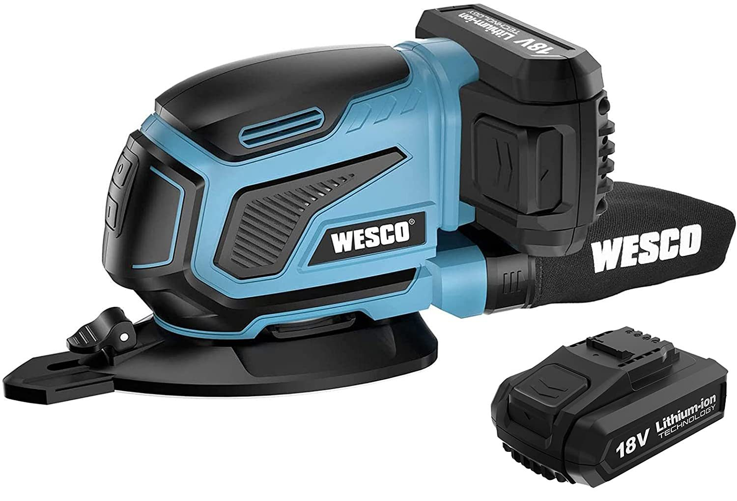 Cordless Sander, WESCO 18V 2.0Ah Mouse Detail Sander 13000RPM, 12Pcs Sandpapers, Dust Extraction with Finger Pad for Sanding in Narrow Space, Compact Multi-Tool Sander(140X140X80mm) WS2315.1