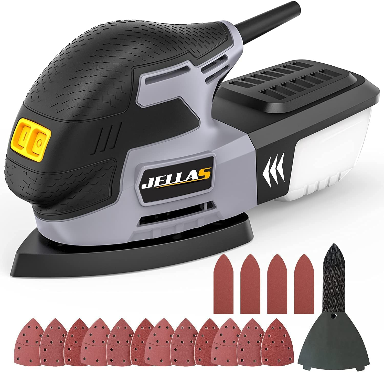 Detail Mouse Sander - JELLAS Compact Sander Machine for Wood, 13,000 RPM Sanders with Dust Collection, 220W Sanding Machine 12PCS Standard Sandpapers, Sanding Pads Included, MS01-SD