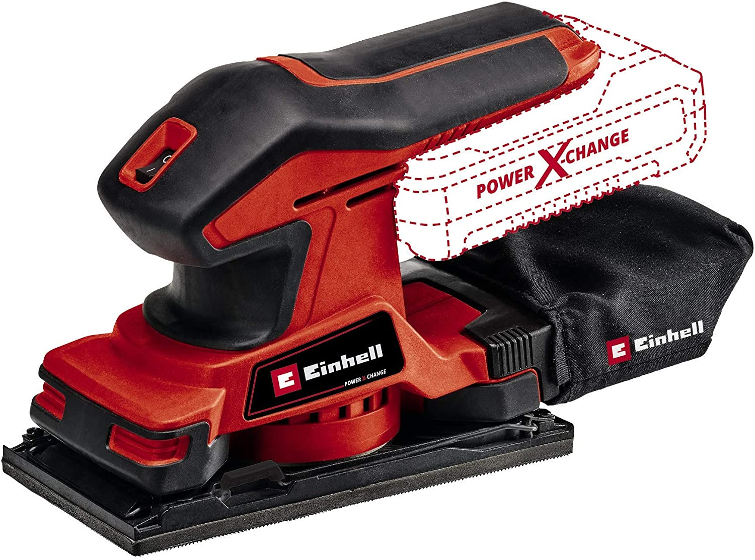 Einhell Cordless Orbital Sander TC-OS 18 187 Li-Solo Power X-Change (18 V, Lithium-ion, Micro Hook-and-Loop Fastener, Grip Surfaces with Soft Grip, Incl. 1x Sheet of Abrasive Paper)